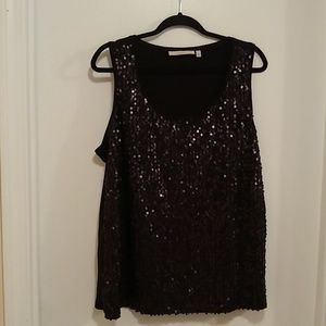 Sejour black sequined tank top